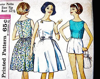 1960s Pattern Simplicity Shorts, Sleeveless Top, Wrap Skirt Pattern Misses Size 9 Petite size Vintage Sewing Pattern