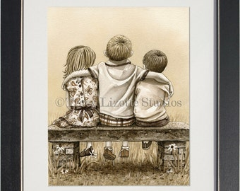 Brothers and Sister- an archival watercolor print by Tracy Lizotte