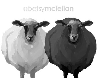 Black & White Sheep - Graphic Style - Paper - Canvas - Wood Block - Giclee Print