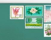 Posts (5) 2 oz wedding invitations - Green Flowers unused vintage postage stamp sets (2 ounce 71 cent rate)