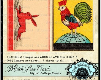 Rooster, Joker, Rabbit, Horse  Match Box Digital Collage, Printables, ACEO, ATC, Digital Collage Sheets, Truth Cards