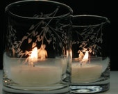 2 'Branches and Leaves' Hand Engraved Glass Candle Holders Spring Decor Wedding Favors