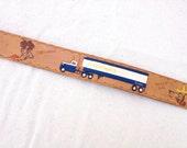 RESERVED for ALAN NG ......Vintage Trucker Tramp Art Belt // Hand Tooled & Painted