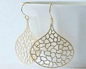 LAST ONE Leaf Gold Dangle Earrings