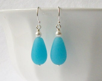 ON SALE Light Blue Glass Dangle Earrings, Sea Glass Dangle Earrings