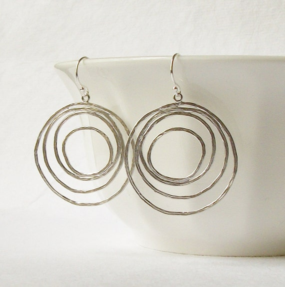 Silver Circle Dangle Earrings