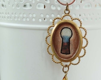 Brass Hand Painted Keyhole Pendant Necklace