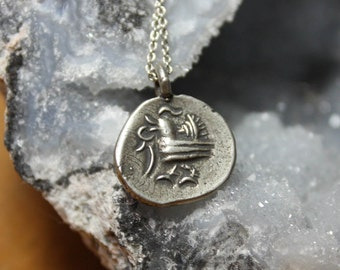 Good Fortune Tribal Bird Talisman Charm Necklace