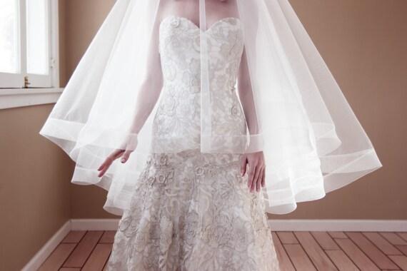 Drop Wedding Veil with 2
