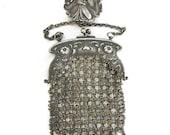 Vintage Art Nouveau Goddess Flora, Metal Mesh, Chain Mail Chatelaine Purse