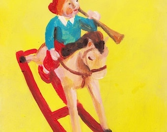 vintage toy on yellow - CHILDREN ORIGINAL Painting - original acrylic painting on wood panel- small boy illustration-  Trumpet toy -play