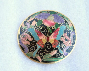 Cloisonne Butterfly Belt Buckle Vintage Round Floral Flowers Pink Blue Black Purple