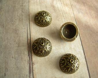 10mm Acorn Bead Caps Metalized Lucite Antique Gold Finish 4