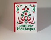 "German ""Merry Christmas"" letterpressed card - individual card"