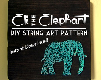 String Art Pattern - Eli the Elephant - Set of 2 Patterns