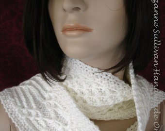 Reversible White Scarf, Raised Detail Scarf, Hand Knit Scarf, Soft White Scarf, OOAK, Neck Warmer, Original Design