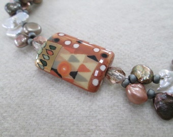 PICASSO PEARLS Necklace With Porcelain, Freshwater Pearls, Petrified Coral, Swarovski Crystals, Czech Glass & Sterling Silver OOAK