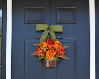 Peony Door Wreath, Fall Wreath, Fall Peonies, Door Decor, Thanksgiving Decor, Wreath for Fall