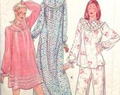 VINTAGE SLEEPWEAR Sewing Pattern - Beautiful 1980s Pajamas & Nightgown