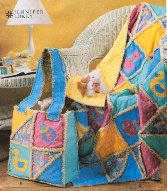 RAG QUILT Sewing Pattern Baby Quilts & Diaper Bag