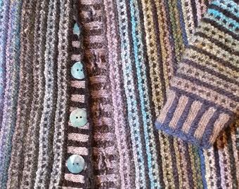 Watercolor Cardigan Pattern in Silk Garden Sock (sport wt)