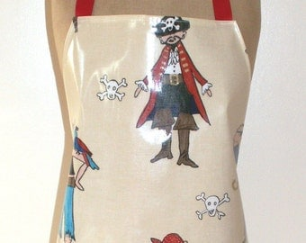 Jolly Pirates - Adult full length apron - PVC / Oilcloth Apron - Pirates Apron - Waterproof - Wipe Clean Apron - BBQ Apron - Man Apron