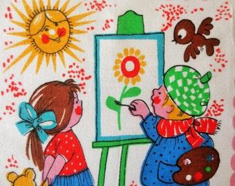 Vintage Handkerchief, Printed Hankie, Children Playing, Childs Handkerchief, Primary Colors, Polka Dots, Vintage Hankie, Kids Hankie
