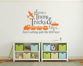 Playroom decal, planes, trains, trucks and toys DB343