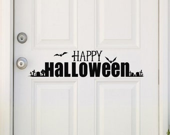 Happy Halloween with Graveyard vinyl lettering wall saying decal sticker decor bats