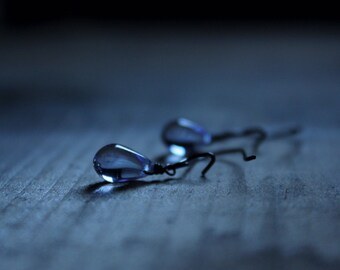 Rain. Romantic Whimsical Minimalist Petite Pale Lavender Czech Glass Droplet Earrings.