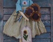 Sunny doll with sunflowers, punch needle pattern, primitive doll pattern, primitive pattern