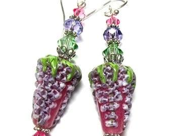 Wisteria Earrings Flower Earrings Lampwork Earrings Pink Floral Earrings Glass Earrings Artisan Earrings Handmade Earrings Beaded Earrings