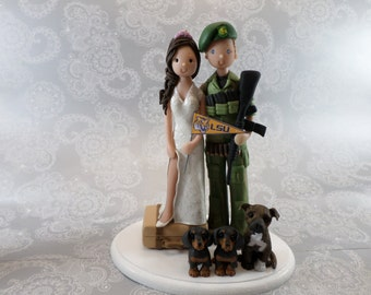 Short Bride & Soldier Groom With Pets Customized Wedding Cake Topper