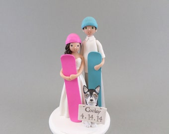 Custom Snowboard/ Ski Theme Wedding Cake Topper