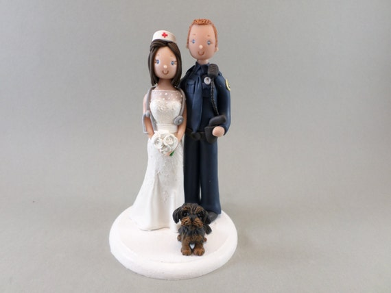 police officer and nurse wedding cake topper officer amp with a personalized wedding cake 18671