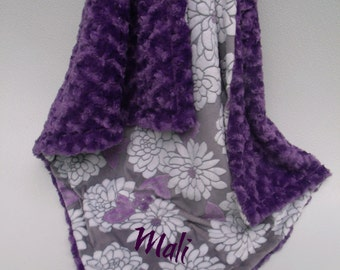 Minky Baby Blanket Purple Floral and Rose Swirl Minky