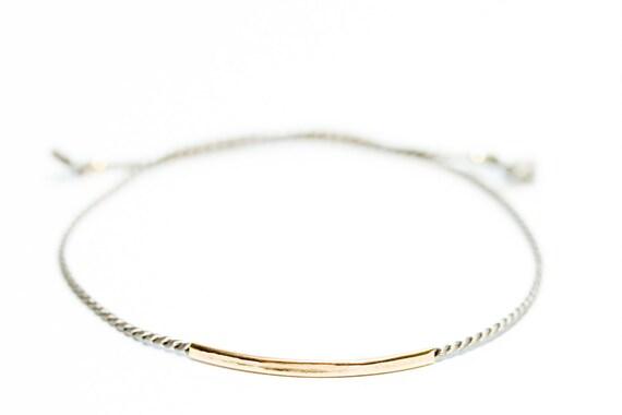 Silk string + gold bar bracelet - silk string bracelet - dainty gold jewelry - delicate gold bracelet - gold stacking bracelet - minimalist