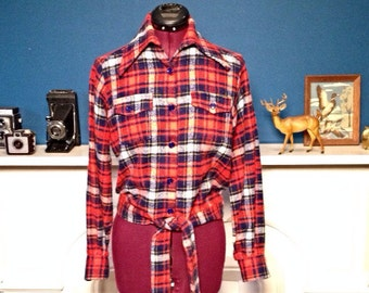 Vintage 70s Red Plaid Flannel Cropped Shirt Jacket