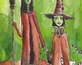 Halloween Greeting Card Two Witches Trick or Treat Hand Painted