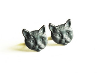 Black Cat Earring Studs Matte Black Oxidized Brass Kitten Post Earrings Hypoallergenic Studs Cat Kitten Jewelry