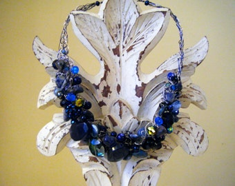 True Blue Crocheted Wire Necklace