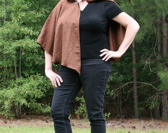 Dark Brown Linen Hooded Cape or Poncho - Michonne, Mara Jade Skywalker, Jedi, Medieval Garb