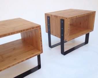 Pair of Mid Century Modern Open Bedside Side Tables -Splash of Black in caramelized bamboo