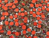8mm Faceted Opaque Coral Picasso Table Cut Firepolish Czech Glass Beads - Qty 25 (AW147)
