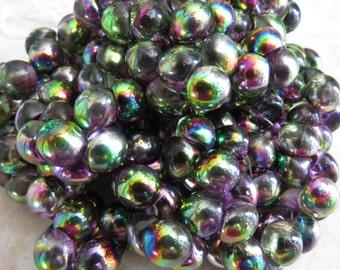 9x8mm Magic Orchid Czech Glass Mushroom Button Beads (aw235)