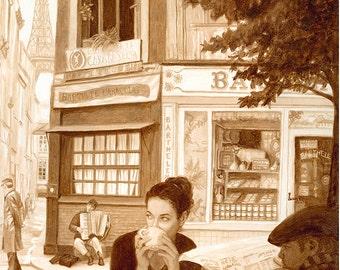 coffee art, Coffee in Paris, painted using only coffee, espresso, coffee shop, Paris, France, French, sidewalk cafe, musician, Eiffel