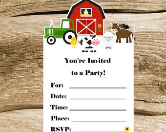 Farm Birthday Party - Set of 8 Farm Buddies Invitations by The Birthday House