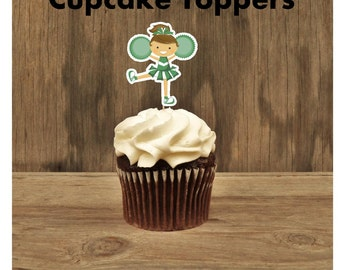 Cheer Party - Set of 12 Cheerleader Cupcake Toppers in Green by The Birthday House