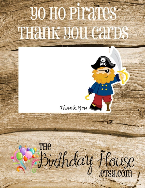 Yo Ho Pirate Party - Set of 8 Peg Leg Pirate Thank You Cards by The Birthday House