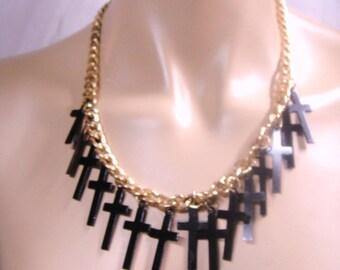 Vintage Gold Tone Black Cross Chain Necklace